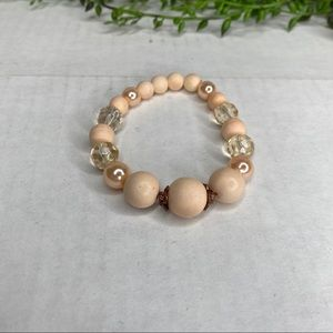 Blush Colored Wood, Pearl and Bead Round Bracelet